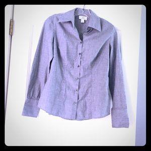Ann Taylor Loft Grey Button Down Size 4